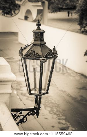 isolated street lamppost in sepia, prague, czech republic
