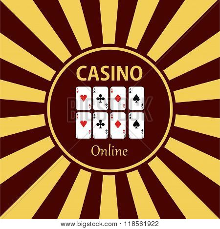 Casino  Design Elements Vector Icons. Casino Games.ace  With Chips On Green Background.