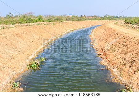 Irrigation Canal For Agriculture In Summer.