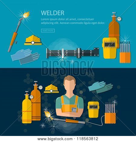 Professional Welder Banners Welding Tools And Equipment Vector