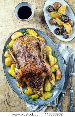 Roasted Duck woth Potatoes and Mushrooms