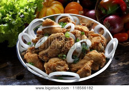 against fried breaded thigh