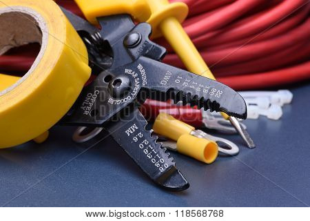 Tools for electrician and cables