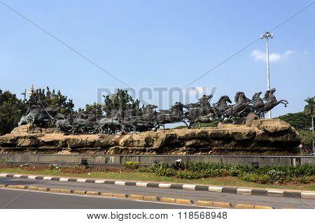 Arjuna Wijaya Chariot Statue In Jakarta