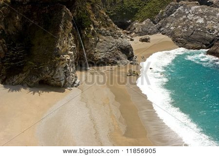 Waterfall falling into the Pacific Ocean