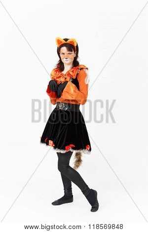 Theatre Actress In Costume Of Cat On White Background