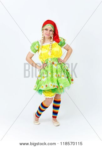 Theatre Actress In Fairy Tale Costume Of Lady Dwarf On White