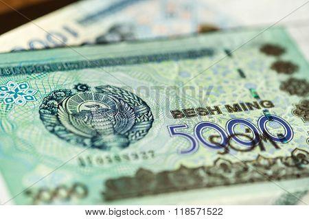 Banknote Of Five Thousand Uzbekistan Sums Close Up