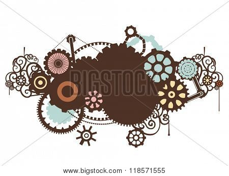 Steampunk Illustration Featuring the Outlines of Cogs and Gears
