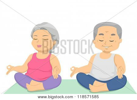 Illustration of a Senior Citizen Couple Relaxing While Doing Yoga