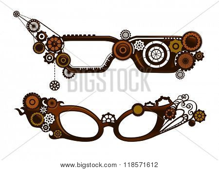 Steampunk Illustration of Fancy Eyeglasses Designed with Cogs and Gears