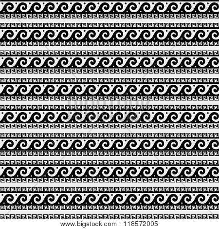 Greek minimal monochrome black and white pattern, background or ornament. Ancient style, symbols, wa