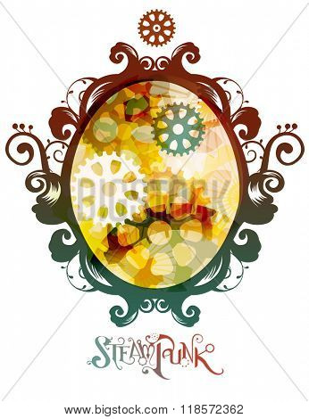 Steampunk Illustration of an Oval Frame with the Word Steampunk Beneath It