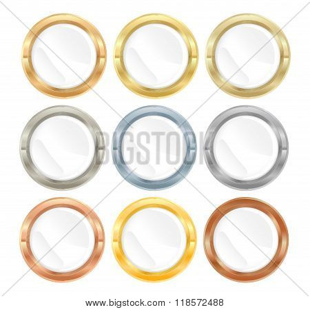 Vector Collection Of Metal Labels Gold Silver Platinum Bronze Copper Aluminum Brass With White Inset