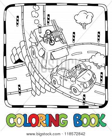 Retro Car With Trailer. Coloring Book