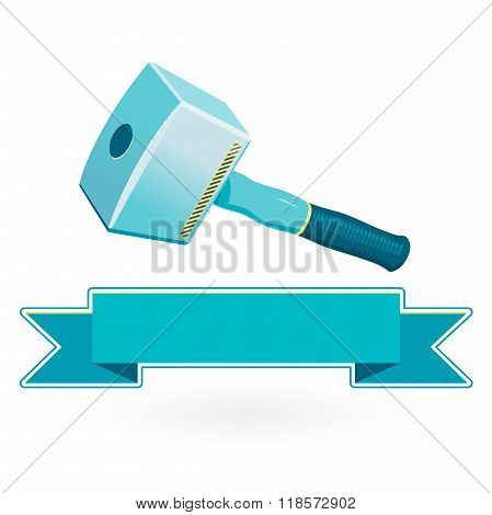 Nice classical big blue carpenter mallet on white, massive robust hammer.