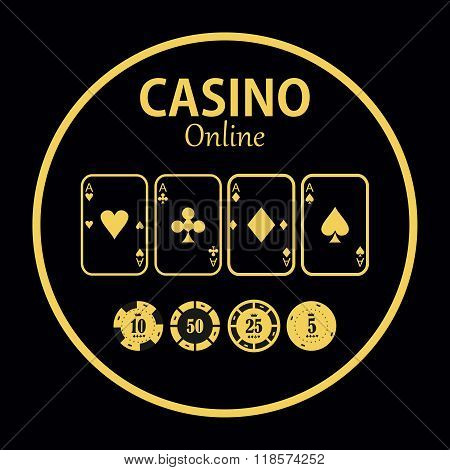 Casino  Design Elements Vector Icons. Casino Games.ace  With Chips On  Background.set O