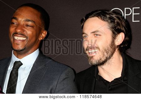 LOS ANGELES - FEB 16:  Anthony Mackie, Casey Affleck at the Triple 9 Premiere at the Regal 14 Theaters on February 16, 2016 in Los Angeles, CA
