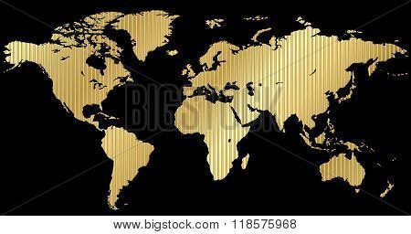 Vector Map Of The World Made Of Corrugated Gold On A Black Background