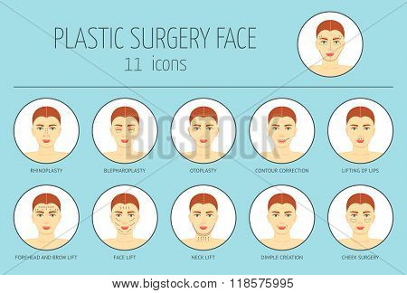 11 Icons Of Plastic Surgery Face. Flat Design. Vector