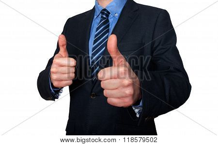 Businessman Gesturing With Thumbs Up