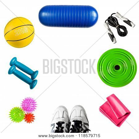 Background with sports accessories isolated