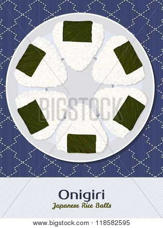 Onigiri Illustration. Rice Balls. Japanese Cuisine