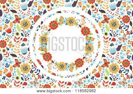 Floral Background With Wreath Inside
