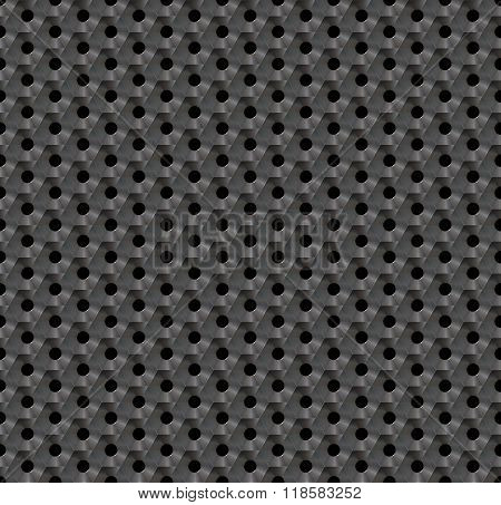 Seamless abstract background metallic honeycomb - hexagons with holes.