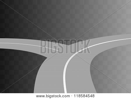 Vector  Curved road with white markings.