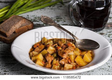Portion Of Traditional Irish Beef, Guinness Beer Stew With Carrots And Potato