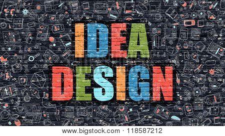 Idea Design Concept. Multicolor on Dark Brickwall.