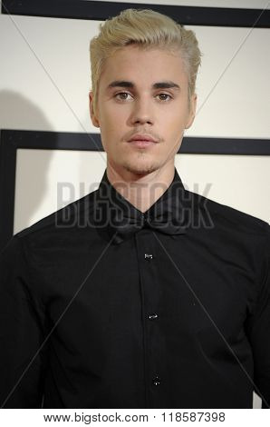 Justin Bieber at he 58th GRAMMY Awards held at the Staples Center in Los Angeles, USA on February 15, 2016.