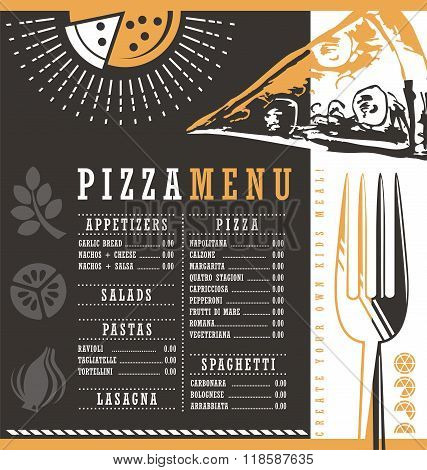 Pizzeria menu graphic design idea