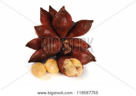 Peeled Zalacca Fruit Isolated On White Background.