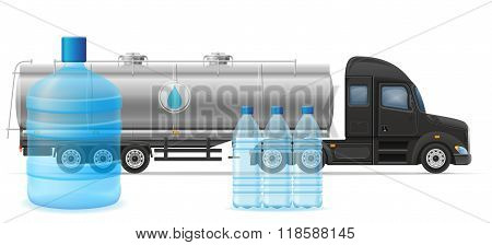 Truck Semi Trailer Delivery And Transportation Of Purified Drinking Water Concept Vector Illustratio