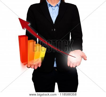 Businesswoman Showing Growth Graph