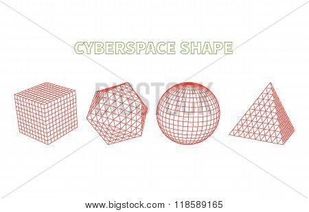 Abstract Cyberspace Grid Landscape Background