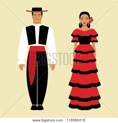 Spanish Man And A Woman In National Costume