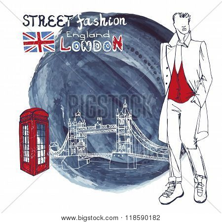 London Fashion dude men.Watercolor ink splash