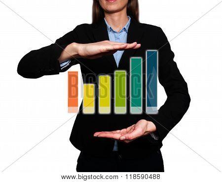 Businesswoman Holding Futuristic Growth Graph