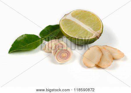 Ginger, Lime, Kaffir  Leaves, Lemon Grass On White Isolated