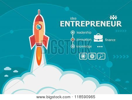 Entrepreneur Design And Concept Background With Rocket.
