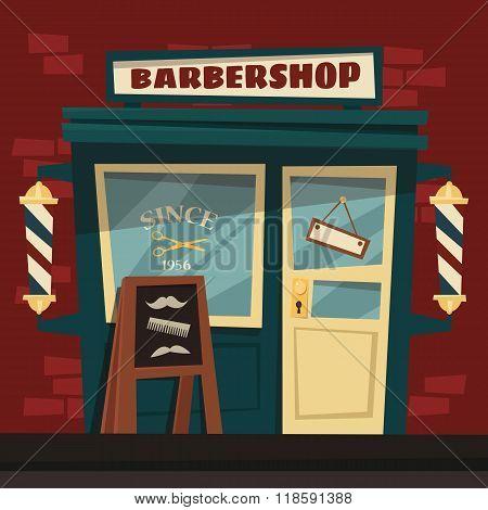Cartoon retro barbershop