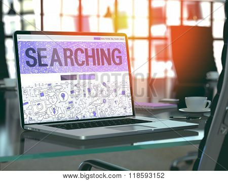 Searching Concept on Laptop Screen.