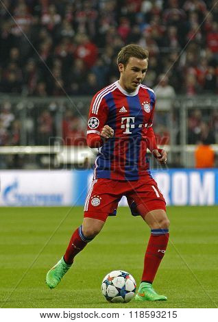 MUNICH, GERMANY - MARCH 11 2015: Bayern Munich's midfielder Mario Gotze during the UEFA Champions League match between Bayern Munich and FC Shakhtar Donetsk.