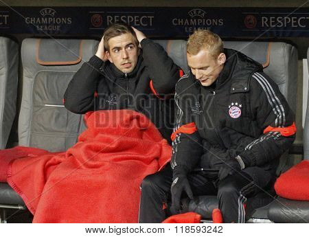 MUNICH, GERMANY - MARCH 11 2015: Bayern Munich's defender Philipp Lahm on the substitutes bench during the UEFA Champions League match between Bayern Munich and FC Shakhtar Donetsk.