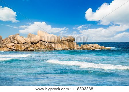 Granite Rocks At Beach In Seychelles