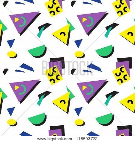 Seamless geometric vintage pattern in retro 80s style, memphis. Ideal for fabric design, paper print
