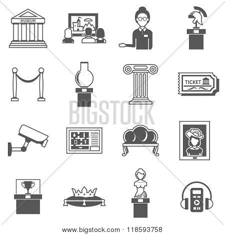 Museum Decorative Black Icons Set